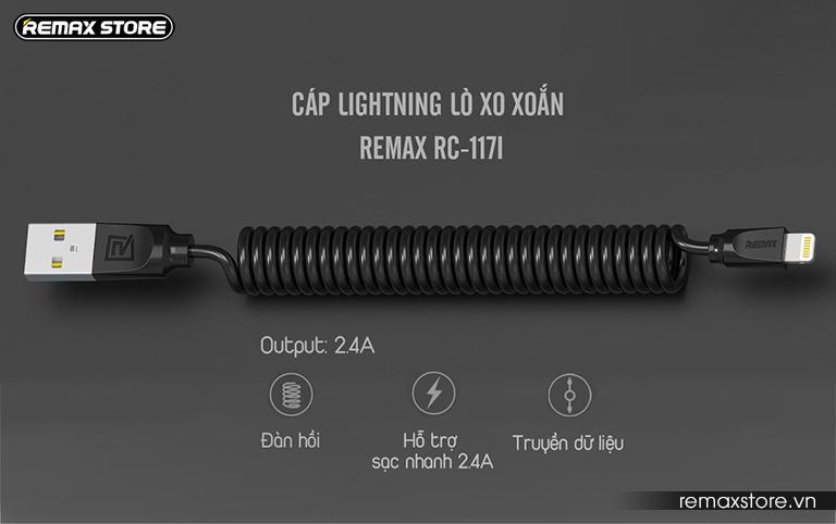 Cáp lightning lò xo xoắn Remax RC-117i 10