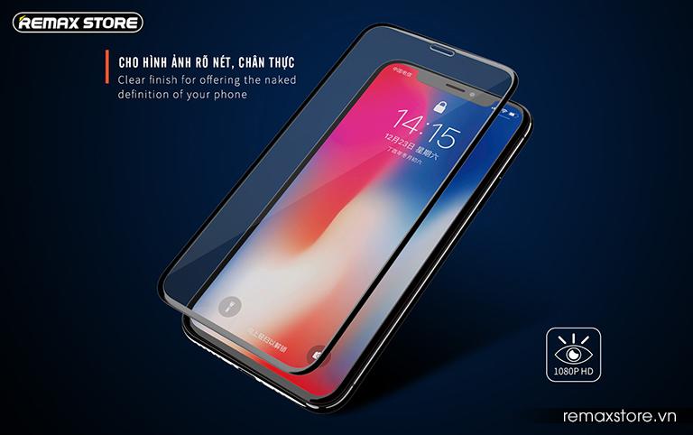 Kính cường lực iPhone 5.8 (X)/6.1/6.5 full màn 9D Remax GL-32 4