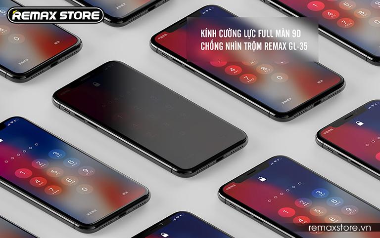 Kính cường lực iPhone X full màn 9D chống nhìn trộm Remax GL-35 (1)