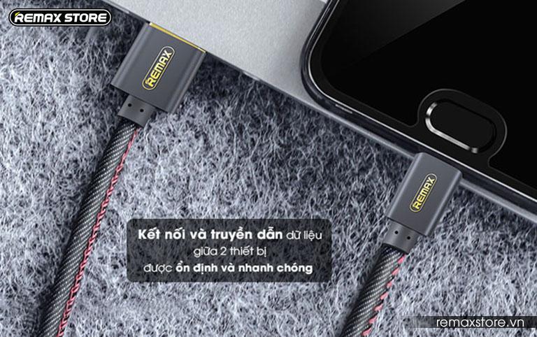 Cáp sạc Lightning bọc vải jeans cao cấp Remax RC - 096i 1.8m - 1