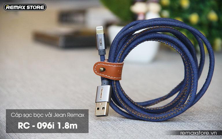 Cáp sạc Lightning bọc vải jeans cao cấp Remax RC - 096i 1.8m - 14