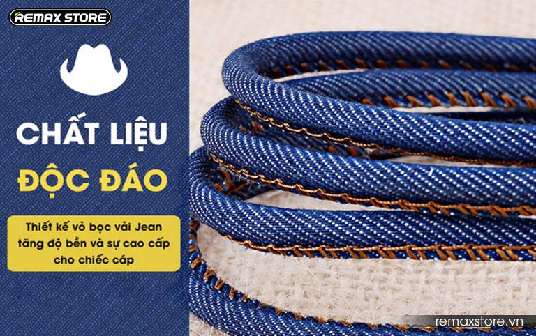 Cáp sạc Lightning bọc vải jeans cao cấp Remax RC - 096i 1.8m - 5