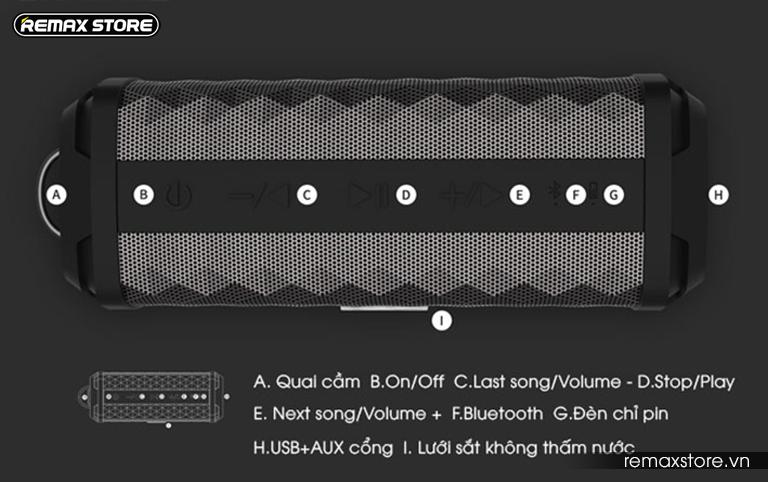 Loa Bluetooth xách tay chống nước Remax RB-M12 - 3
