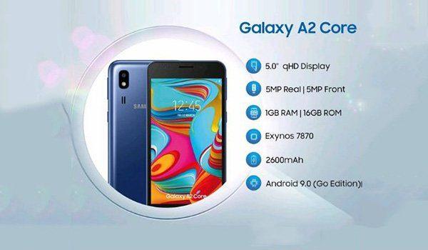 Điện thoại Samsung Galaxy A2 Core với Exynos 7870 SoC giá 1,7 triệu